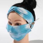 Blue TieDye_Fabric Mask_Headband Set