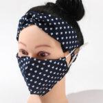 Navy Blue_ Hearts_Fabric Mask_Headband Set