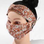 Orange Flower_Fabric Mask_Headband Set
