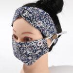 Purple Flower_Fabric Mask_Headband Set