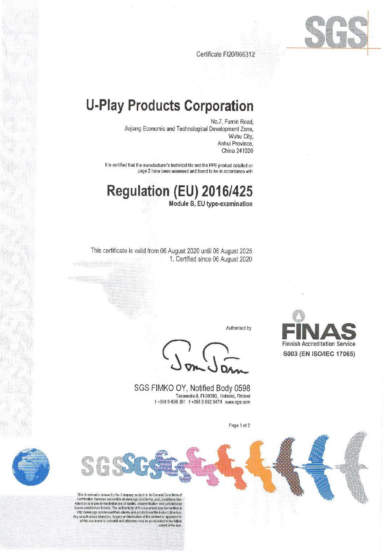 Model 003 NR Particulate Respirator Module B&C Certificate